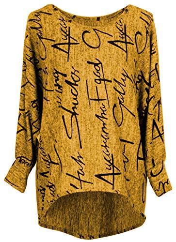 Emma & Giovanni - Pullover/Sweatshirt Oversize- Damen (L/XL, Ocker)
