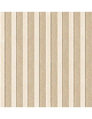 Polsterstoff Möbelstoff Bezugsstoff Meterware für Stühle, Eckbänke, etc. - Magic Design Beige Gestreift Baumwolle Schwer entflammbar- Muster