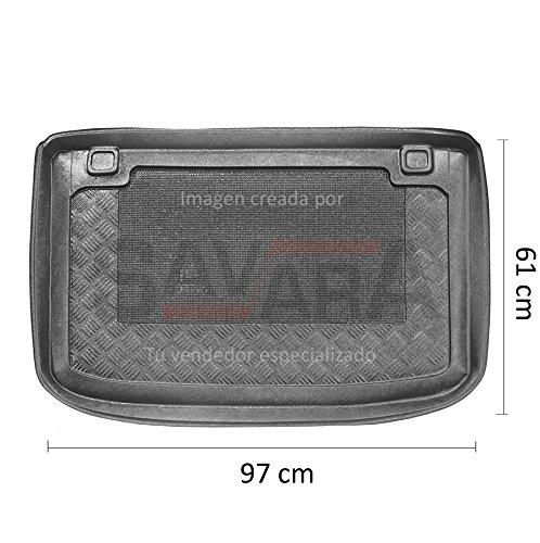 Protector de maletero específico para Renault Clio IV 5 puertas (2012-) - Antiderrames, antideslizante, lavable. Cubeta, alfombra de plástico