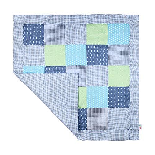 Krabbeldecke groß gepolstert Patchworkdecke Baby Spieldecke jungen mädchen Laufgittereinlage & Laufstalleinlage 120x120 (grau / blau)