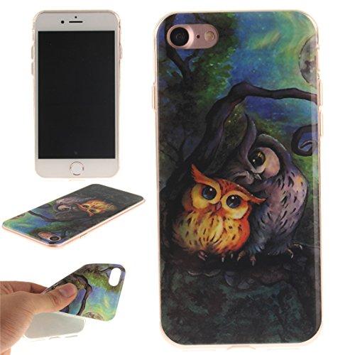 Nancen Apple iPhone 7 / 8 (4,7 Zoll) Hülle, Ultra Dünn Spezielle Weiche TPU Full Silikon Cover Case Handyhülle Schutzhülle Tasche [Grüne Augen Tiger] Zwei Eulen