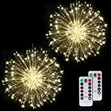 Home Delight Firework Lights 120 led Copper Wire Starburst String Lights 8 Modes Battery Operated Fairy Lights for Room, Garden, Patio, Wedding, Christmas,Diwali Party, DIY Decoration (Pack of 2)