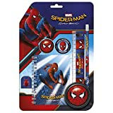 Marvel Spiderman - Schreib Set 6 Teile- Bestehend aus Notizblock, Clip, Bleistift, Lineal, Anspitzer, Radiergummi - Tolles Geschenk für Den Schulanfang - Zum befüllen der Schultüte
