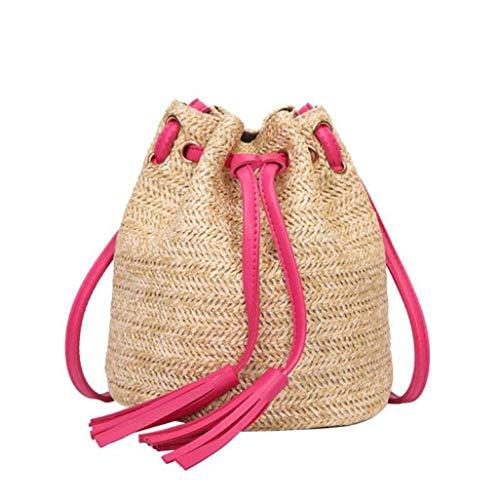 TOBEEY Frauen Sommer Rattan Handtasche Casual Strand Stroh Taschen Quaste Geflochtene Wicker Bag Fringe Drawstring Bucket Cross Body Handtasche Fringe-leggings