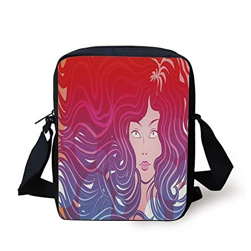 Modern,Graphic Little Mermaid Face and Wavy Hair Vibrant Colors Fantasy Woman Artwork,Red Violet Cream Print Kids Crossbody Messenger Bag Purse (Little Mermaid Hair Bow)