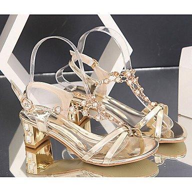 RTRY Donna Sandali Primavera Estate Club Pu Scarpe Abbigliamento Sportivo Chunky Tacco Fibbia Di Strass Nastro Oro US5.5 / EU36 / UK3.5 / CN35