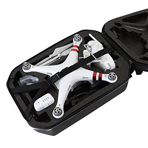 HMF 18608-02 Rucksack Hartschale, Transporttasche passend DJI Phantom 2 und 3 Standard, Professional, Advanced Drohne, 42 x 39 x 28 cm, schwarz - 5