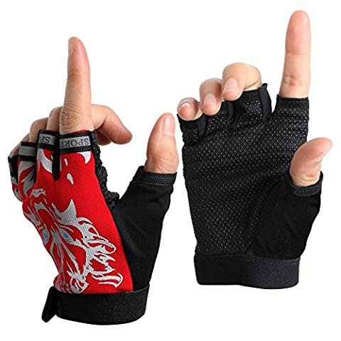 Outdoor Gloves Children Kids Half Finger Breathable Cycling Gloves for Bicycle Biking Riding Fishing Hunting Racing Roller Skating Climbing Fitness Exercise Camping Sports (Red)