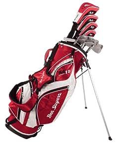 Ben Sayers M11 Set complet de golf pour homme, en fibre de carbone/acier, tige régulière, pour droitier Rouge/blanc
