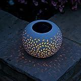 Smart Solar Filigree Ceramic Table Lantern Colour Changing & White LED