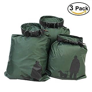 UEETEK 3 Stück/ Set Trockenbeutel,Ultra-light Nylon Packsacks für Camping Bootfahren ,Ideal für die Lagerung von Kleidung/Sonnenschutz Creme / Armeegrün,(1,5 L + 2,5 L + 3,5 L)