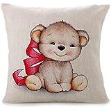 Funda para cojín, keepwin Cute Animal Print algodón de lino sofá Vintage funda de almohada cubierta para banco partido decoración del hogar, C, 43cm*43cm