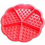 Haodou Silikon Waffeln Backform für Herz-Waffeln, Antihaft-Backform,5 mini Waffeln Förmchen Backofen Schokoladenform Kuchenform Waffelform Eiswürfelform Schokoladen Tafeln machen 17.5*1.5cm (Rot)