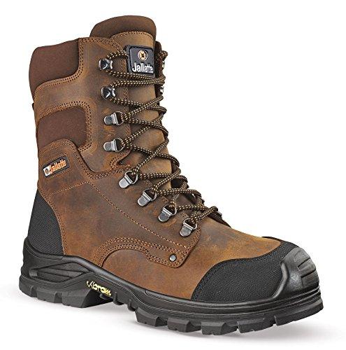 Jallatte jalhickory S3en cuir marron Vibram haute jambe jusqu'en dentelle travail Bottes de sécurité en acier Marron