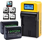 PATONA Premium Akku (2X) - Ersatz für Akku Sony NP-FW50 - mit LCD Top Ladegerät - USB-Ausgang, zum Laden Eines Drittgerätes (Smartphone.usw.)
