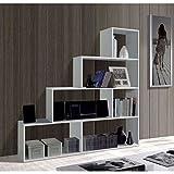 Habitdesign Links–Kafka Library Shelf, 80 x 25 x 192 Height, in Melamine 145x29x145 white