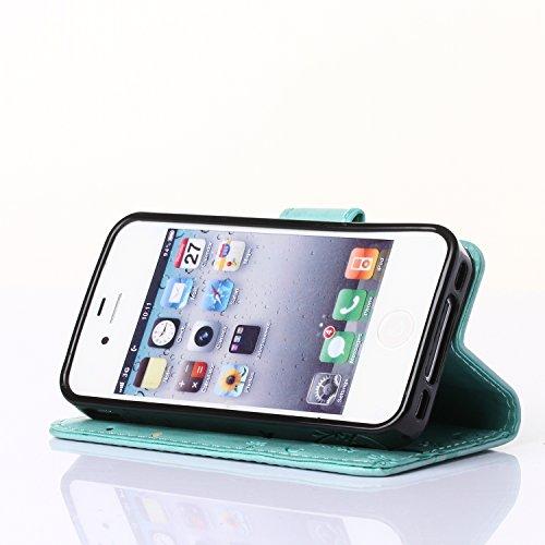 Sunroyal® Etui iPhone 4 Luxe PU Cuir Coque Housse Portefeuille Dragonne Case Cover de Protection Swag Shell avec Fonction Support Motif Papillon Fleur pour iPhone 4 4G - Gris Vert