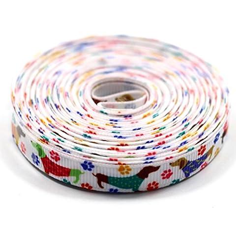 Midi Ribbon Dog Dachshund Print Grosgrain Ribbon 3/8