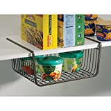 Under Shelf Basket Wire Rack By House of Quirk Easily Slides Under Shelves for Extra Cabinet Storage - Black