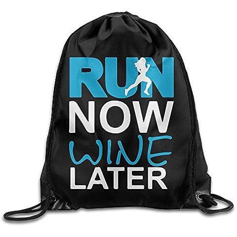 Canace Run Now Wine Later deportes al aire libre cordón bolsas mochila, Blanco, talla única