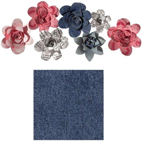 Imaginisce 6 camere Rosies tessile tessuto denim disegno Roly Fiore, multicolore