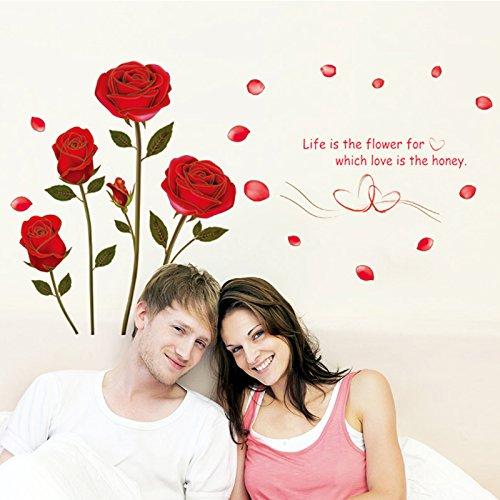 Rose rosse Wall Stickers per Camera da letto Soggiorno Divano TV Sfondo Adesivi per la casa murali decalcomanie removibili