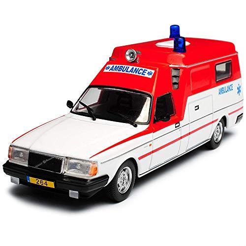 Atlas Volvo 264 Ambulance Krankenwagen Rot Weiss 1974-1984 1/43 Modell Auto
