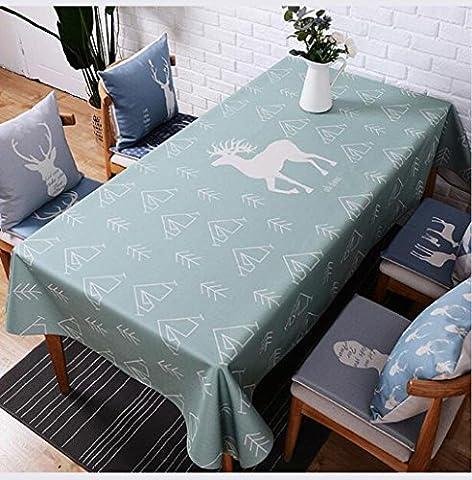 DZYZ Europäische Baumwoll-Leinen Tischdecke Fleckbeständig Verschiedene Größe , 140*180cm , green