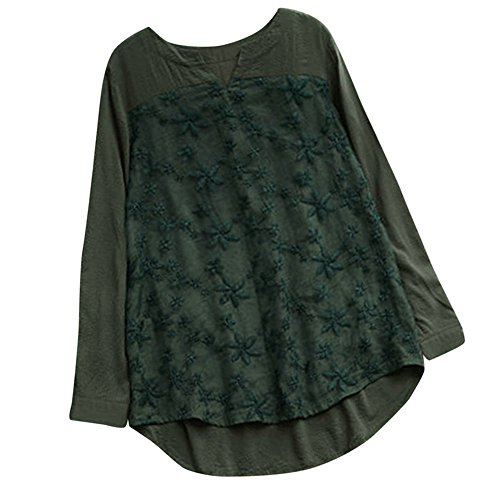 iHENGH Damen Bequem Mantel Lässig Mode Jacke Frauen Frauen mit Langen Ärmeln Vintage Floral Print Patchwork Bluse Spitze Splicing Tops(Grün-1, L) - Floral Print Knit Bluse