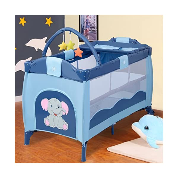 COSTWAY Portable Infant Baby Travel Cot, Bed Play Pen, Child Bassinet Playpen Entryway, with Mat 2 in 1 (Blue) Costway 【Excluded locations】Guernsey, JERSEY, Channel Islands, Isle of Man, Scilly Isles, Scottish Islands, PO BOX 【Folded Design】Due to its folding design, you can take it to anywhere as you like by packing it in the supplied carry bag, and it just takes you a while to fold or unfold it before using. 【See-through safety mesh】It features mesh cloth on both sides, this netted areas allow your baby to see out clearly as well as an onlooker to see in to her/him, and it also offers great ventilation for your baby. 3