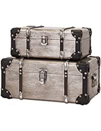 Imax 65399-2 Baker Aluminum Clad Suitcases - Set Of 2