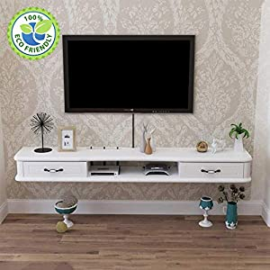 AGYE Wood Floating TV Stand Cabinet, TV Cabinet For Living Room,TV Unit Storage Console,TV Cabinet With Two Shelves,for Living Room,Bedroom,White-rubberWood-120cm   15