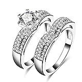 AMDXD Doppelring Set Versilbert Ring Damen Herz Diamant Form Zirkonia Eheringe Silber Größe 60