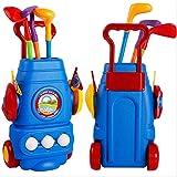 Chaiyan Juego de Club de Golf para niños: Carrito de Golf con Ruedas, 3 Palos de Golf de Colores, 3 Pelotas y 2 Hoyos de práctica: Kit de Juguete para golfistas y Deportistas para niños y niñas