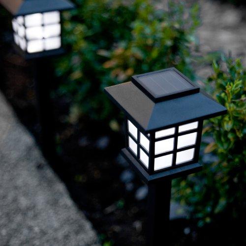 Lights4fun Lot de 6 Lanternes Balises Solaires à Piquet avec LED Blanche pour Jardin