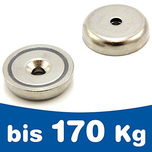 Aimant en pot avec trou de fixation biseauté à visser Ø 10-75mm, Taille:Ø 13 mm | 3 kg
