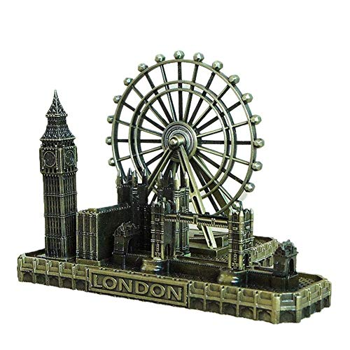 ToyHero® Retro Stadt Figuren London Eye Big Ben Tower Bridge Vereinigtes Königreich Modell Dekor Metall Statue Figur Wohnzimmer Jahrgang Zuhause Dekor für Geschenke Party Desktop Dekoration, Bronze (Bridge-modell London)