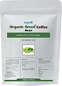 HealthVit Organic Decaffeinated Unroasted Green Coffee Beans - 200 g