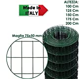 ROTOLO 25 m RETE METALLICA ZINCATA PLASTIFICATA ELETTROSALDATA PER RECINZIONE (150 cm)