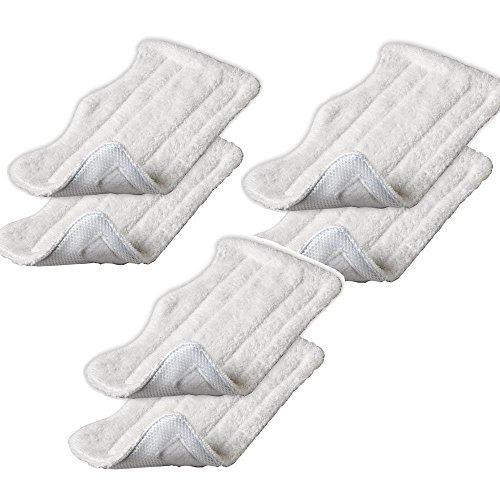 Mikrofaser Ersatz steam mop Cleaning Pads Für Shark Dampf mopp tuch XT3010 / S3111 / S1001 / S3101 / SP100K / S3250 / S3251 / S3202 / SE200 / SP100Q (6 Stück weiß) ()