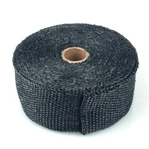 Preisvergleich Produktbild Hitzeschutzband Glasfaser Gewebe, bis 600 Grad, 10 m Rolle, schwarz, Auspuffanlagen, Fächerkrümmer