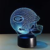 Nfl Team 3D Nachtlicht Green Bay Packers Helm Lampe 7 Farbe Leuchtende Sportkappe Lampe Kreative Hause Tisch Schreibtisch Dekor Für Geschenk