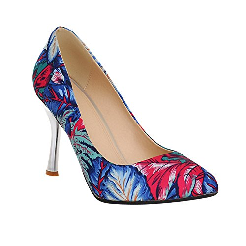 Mee Shoes Damen Stiletto spitz Blume Pumps Blau