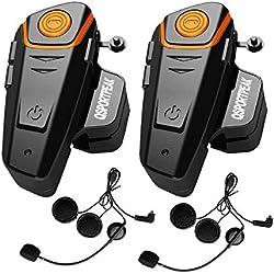 Intercom Moto Oreillette Bluetooth Kit Moto Main Libre. BT-S2 800m Ecouteur Bluetooth/Oreillette Anti Bruit, étanche intégrable au Casque Moto Walkie-Talkie. Idéal pour motocyclisme, Ski (2 pièces)