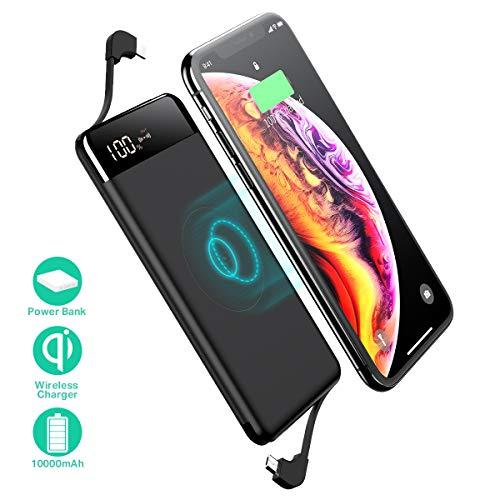 SANAG Powerbank, tragbares Ladegerät,10000mAh externer Akku,Typ-C,QC 2.0 Anschlüsse und LED-Anzeige, Power Bank für iPhone, iPad, Samsung und mehr (Schwarz)