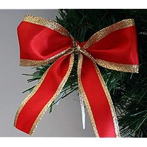 10 Stück Schleife mit breitem Goldrand, bildschöne Weihnachtsschleife, Christbaumschleife oder Geschenkschleife – 4…