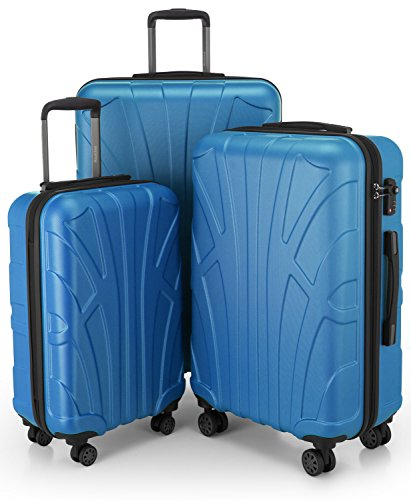 SUITLINE - 3er Koffer-Set Trolley-Set Rollkoffer Hartschalen-Koffer Reisekoffer, TSA, (S, M & L), Cyanblau