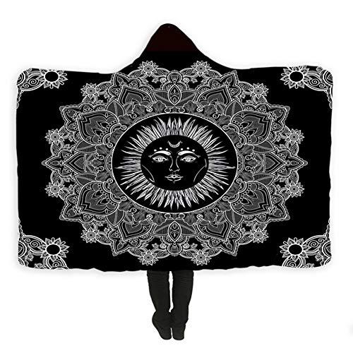 König Ultra Plüsch (JYDAN Decken mit Kapuze 3D Gedruckt Mandala Fleece Weich Chic Zuhause Ultra Plüsch Kuscheln Sie Sich Sherpa-Vlies Blanketn Bettwäsche,B,150 * 200CM)