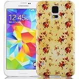 JAMMYLIZARD | Vintage Back Cover Hülle mit Muster für Samsung Galaxy S5 / S5 Neo, GELBES BLUMENMOTIV