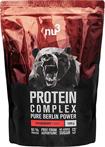 nu3 Protein Complex   Erdbeere   1kg Proteinpulver   Whey, Milch, Ei Mehrkomponenten 3K Protein   Gute Löslichkeit bei über 5,1 g BCAAs pro Portion   Kraftsport optimiert